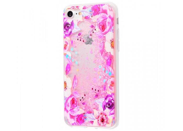Чехол для iPhone 7/8 блестки вода New светло-розовый цветы