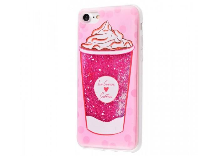 Чехол для iPhone 7/8 блестки вода New розовый Ice Cream Coffee