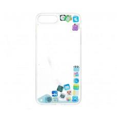 Чехол для iPhone 7 Plus/8 Plus блестки вода песок голубой