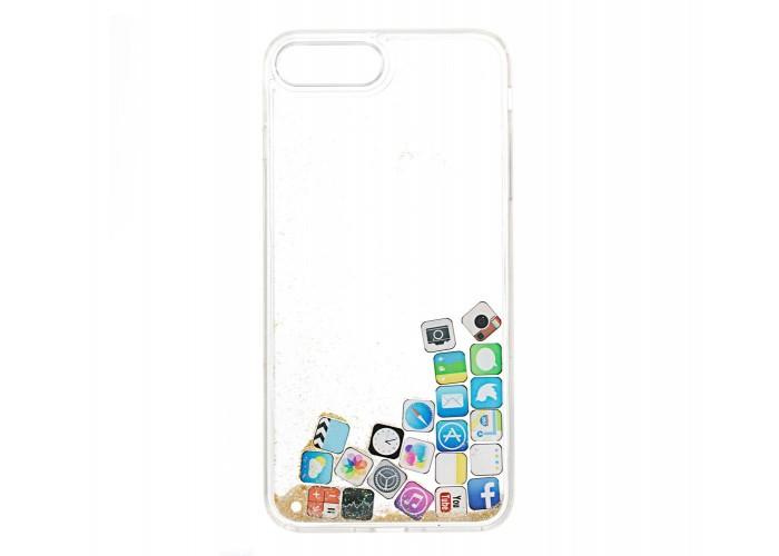 Чехол для iPhone 7 Plus/8 Plus блестки вода песок золотистый