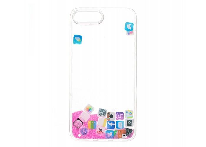 Чехол для iPhone 7 Plus/8 Plus блестки вода песок розовый