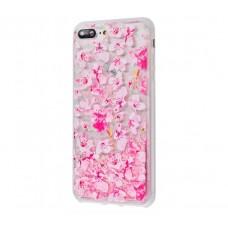 Чехол для iPhone 7 Plus/8 Plus блестки вода New розовый цветы
