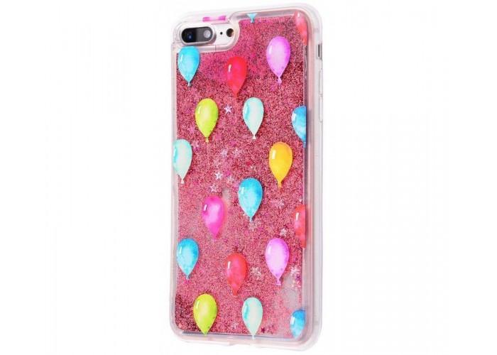 Чехол для iPhone 7 Plus/8 Plus блестки вода New розовый шарики