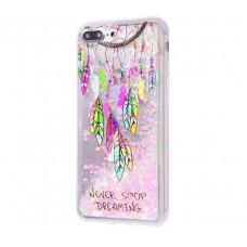 Чехол для iPhone 7 Plus/8 Plus блестки вода New розовый амулет