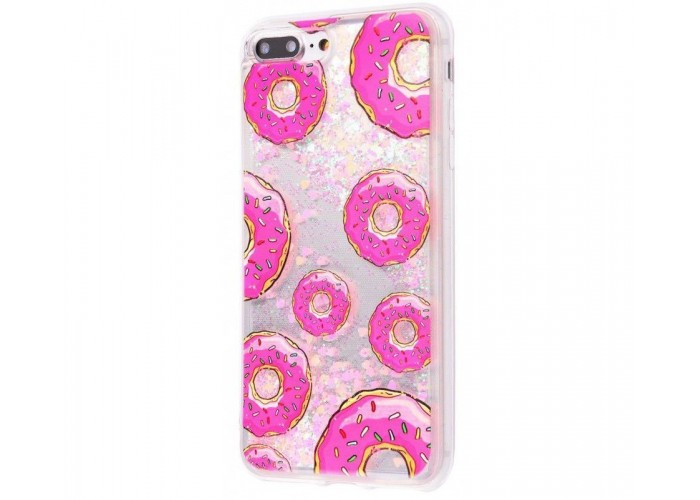 Чехол для iPhone 7 Plus/8 Plus блестки вода New розовый пончики