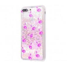Чехол для iPhone 7 Plus/8 Plus блестки вода New светло-розовый фламинго