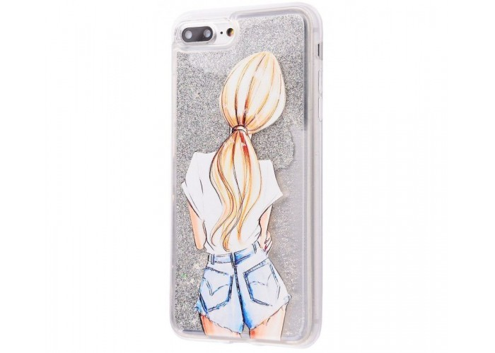 Чехол для iPhone 7 Plus/8 Plus блестки вода New серебристый девушка