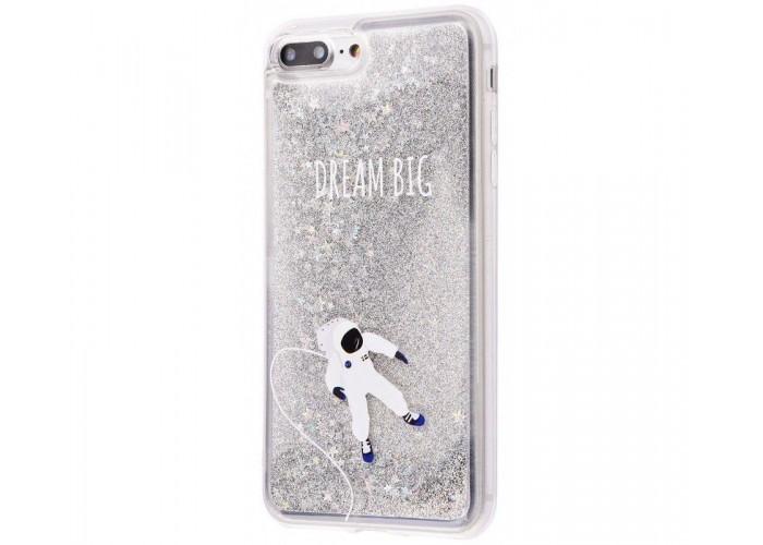 Чехол для iPhone 7 Plus/8 Plus блестки вода New серебристый космонавт