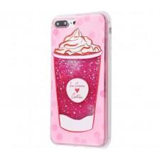Чехол для iPhone 7 Plus/8 Plus блестки вода New розовый Ice Cream Coffee