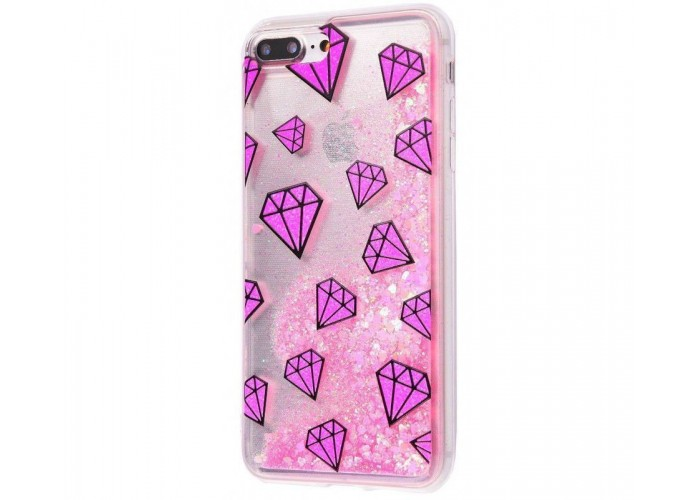 Чехол для iPhone 7 Plus/8 Plus блестки вода New розовый рубин
