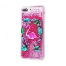 Чехол для iPhone 7 Plus/8 Plus блестки вода New ярко-розовый фламинго
