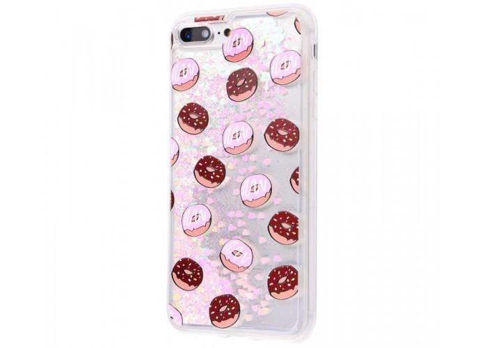 Чехол для iPhone 7 Plus/8 Plus блестки вода New пончики