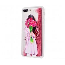 Чехол для iPhone 7 Plus/8 Plus блестки вода New розовый девушка с букетом