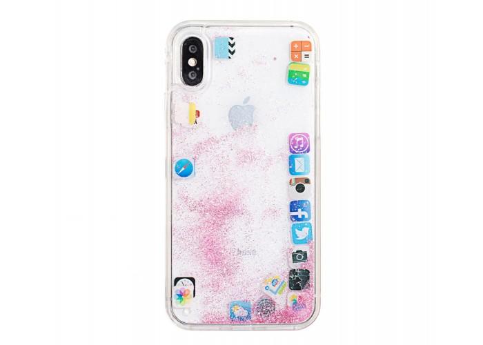 Чехол для iPhone X / Xs блестки вода песок розовый