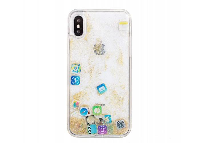 Чехол для iPhone X / Xs блестки вода песок золотой