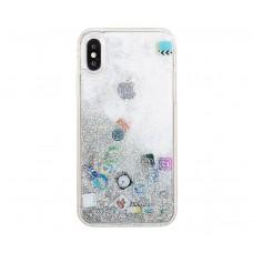 Чехол для iPhone X /  Xs блестки вода песок серебристый