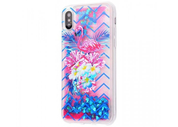 Чехол для iPhone X / Xs блестки вода New розово-синий фламинго с букетом