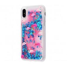 Чехол для iPhone X / Xs блестки вода New розово-синий фламинго