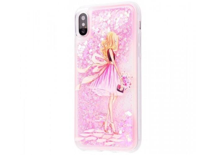 Чехол для iPhone X блестки вода New светло-розовый девушка с букетом