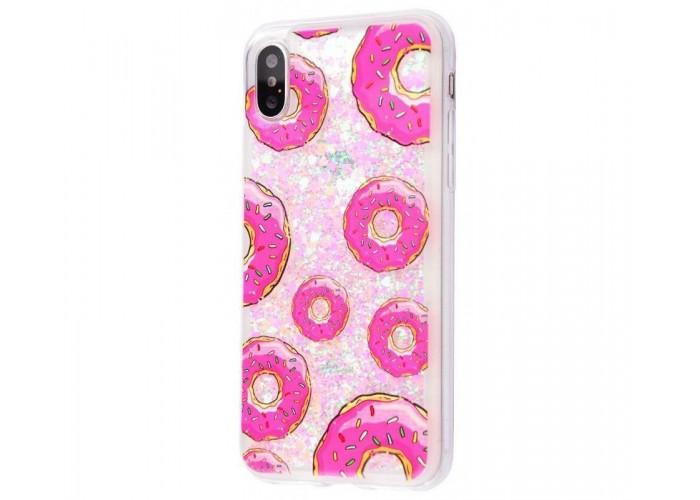 Чехол для iPhone X блестки вода New светло-розовый пончик