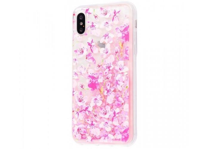 Чехол для iPhone X / Xs блестки вода New светло-розовый цветы