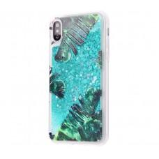 Чехол для iPhone X блестки вода New зеленый лист