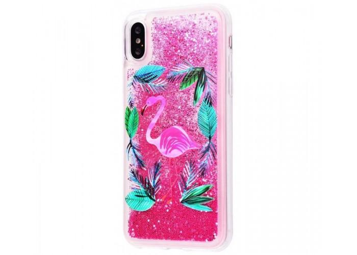 Чехол для iPhone X / Xs блестки вода New ярко-розовый фламинго