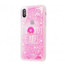 Чехол для iPhone X / Xs блестки вода New розовый Donut