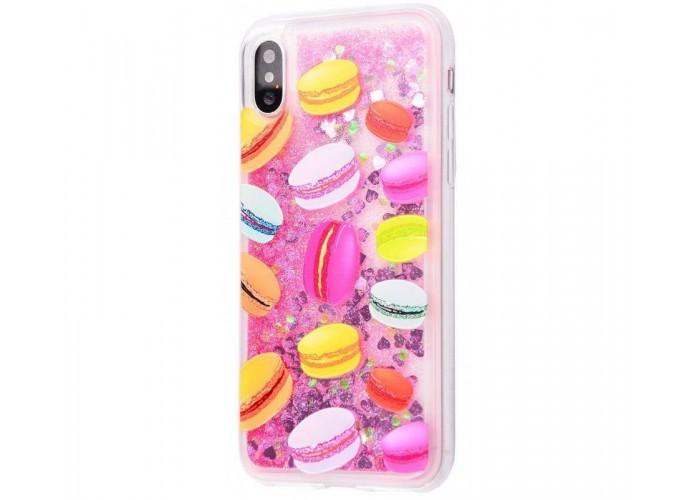 Чехол для iPhone X / Xs блестки вода New розовый макарон