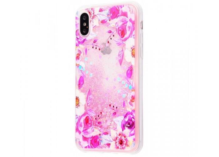 Чехол для iPhone X / Xs блестки вода New розовый цветы