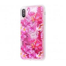 Чехол для iPhone X / XS блестки вода фламинго