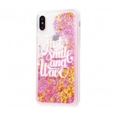 Чехол для iPhone X / Xs  блестки вода Just Smile