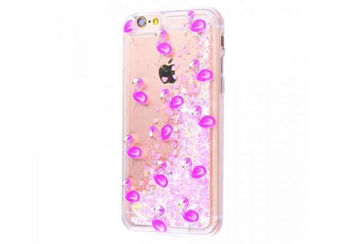 Чехол для iPhone 6 Plus/6s Plus блестки вода New светло-розовый фламинго
