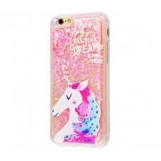 Чехол для iPhone 6 Plus/6s Plus блестки вода New розовый единорог