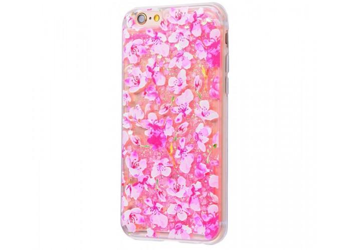 Чехол для iPhone 6 Plus/6s Plus блестки вода New розовый цветы