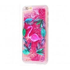 Чехол для iPhone 6 Plus/6s Plus блестки вода New ярко-розовый фламинго