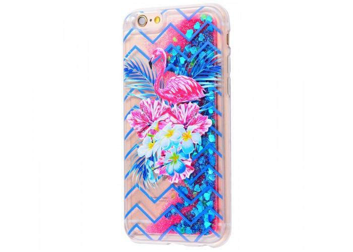 Чехол для iPhone 6 Plus/6s Plus блестки вода New розово-синий фламинго с букетом