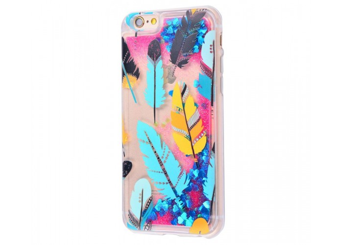 Чехол для iPhone 6 Plus/6s Plus блестки вода New розово-синий перья