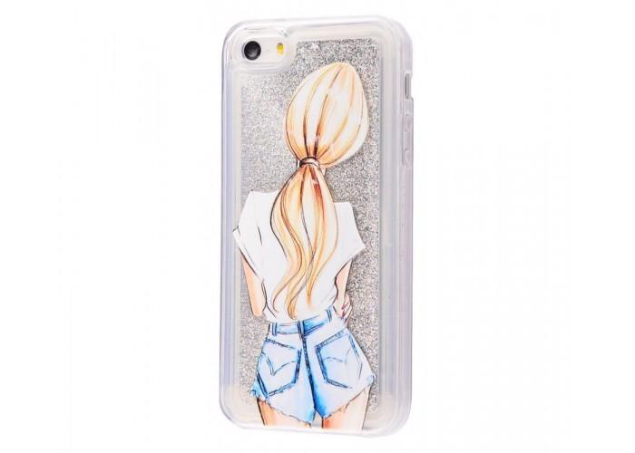 Чехол для iPhone 5/5s/SE блестки вода New серебристый девушка
