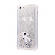 Чехол для iPhone 5/5s/SE блестки вода New серебристый космонавт