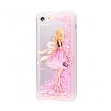 Чехол для iPhone 5/5s/SE блестки вода New светло-розовый девушка с букетом