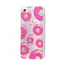 Чехол для iPhone 5/5s/SE блестки вода New светло-розовый пончики