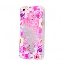 Чехол для iPhone 5/5s/SE блестки вода New светло-розовый цветы