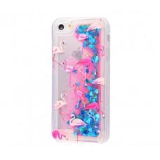 Чехол для iPhone 5/5s/SE блестки вода New розово-синий фламинго