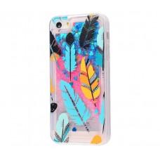 Чехол для iPhone 5/5s/SE блестки вода New розово-синий перья