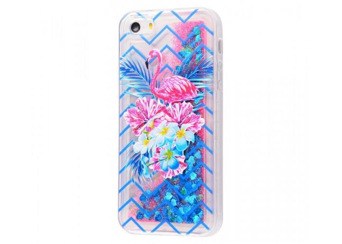 Чехол для iPhone 5/5s/SE блестки вода New розово-синий фламинго с букетом