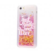 Чехол для iPhone 5/5s/SE блестки вода New розовый Just Smile