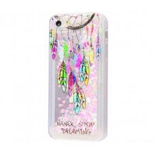 Чехол для iPhone 5/5s/SE блестки вода New розовый амулет