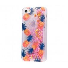 Чехол для iPhone 5/5s/SE блестки вода New розовый ананас