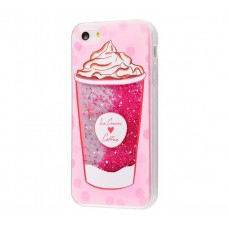 Чехол для iPhone 5/5s/SE блестки вода New розовый Ice Cream Coffee